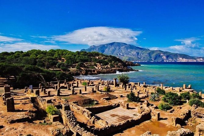 This tour explores the rich Roman ruins near Algiers.<br>Discover the remains of Roman ruins in the port town of Cherchell and visit a museum that stores precious ancient sculptures and mosaics.<br>Then, you'll explore one of the vast ancient Roman ruins facing the Mediterranean Sea and the tomb of the Royal Mausoleum of Mauretania (It's Cleopatra's daughter's tomb)