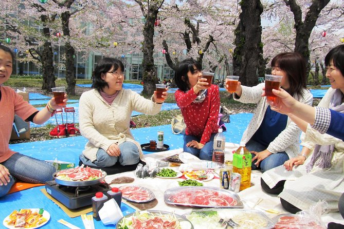 """【OUTLINE】<br>""""Hanami Genghis Khan"""" is a unique experience only in Hokkaido! You can enjoy Genghis Khan (Hokkaido-style Lamb BBQ) and one drink while viewing the cherry blossoms at Goryokaku Park, famous for its cherry blossoms.<br>Make a toast with sizzling Genghis Khan BBQ under the cherry blossom. You can enjoy the spring of Hakodate to the fullest!<br><br>【HIGHLIGHTS】<br>・Goryokaku Park, a cherry blossom viewing spot with 1600 cherry trees<br>・Casually enjoy delicious Genghis Khan (Lamb BBQ) with nothing to bring<br>・A prime location next to Goryokaku Tower secured for you<br>・One drink included! Let's make a toast!<br>・You can enjoy cherry blossoms illuminated at night"""