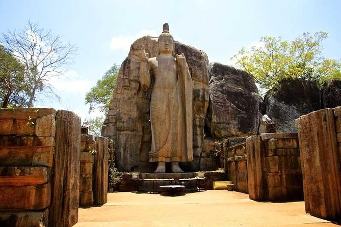 Explore the ruins of the ancient city of Polonnaruwa with hotel pick up and drop off for Negombo. Your journey with your private tour group and English-speaking driver begins at Gal Vihara, a 12th-century Buddhist temple made out of solid stone. See another beautiful image house (considered the largest one in ancient Sri Lanka) when you visit Lankathilaka Viharaya which was built by Parakramabahu I, king of Polonnaruwa between 1153-86. Visit the Vatadage - a well-preserved monument also known as the Circular Relic House - before admiring the ruins of King Parakramabahu's Royal palace and his statue. The palace once had over 1,000 rooms and 7 stories. Learn about Parakrama Samudraya, a portion of the ancient city's water reservoir, before returning to your hotel in Negombo.