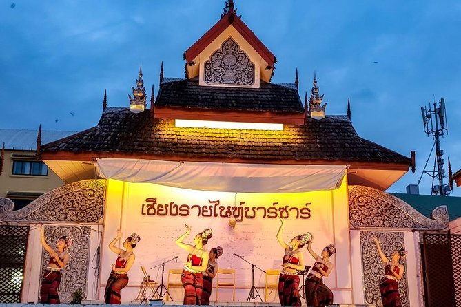 As the evening begins, approximately 6.00pm, you will be collected at your Chiang Rai hotel to enjoy several hours seeing some of the city's attractions. <br><br>This will start with a stop at Chiang Rai's main market which, at that time, will be crowded with people.<br><br>Hop aboard a trishaw and pass by the King Mengrai Monument, a uniquely lit statue named after Chiang Rai's founder. <br><br>Dinner will be Thai cuisine outdoors as you watch cabaret, folk songs and traditional Thai dance performances before spending time at leisure wandering through the Chiang Rai Night Bazaar.