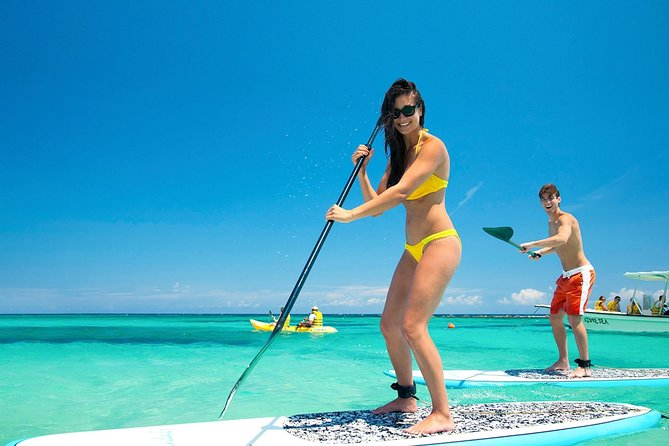 With this Paddle Adventure tour you will discover everything Bonaire has to offer. Paddle on the pristine blue water and then also discover what's below! <br><br>Plus you will learn a new skill: stand up paddle boarding! Don't worry, it's super easy. You need to be able to know how to swim!!!! It's a must. Sorry, can't weigh more than 280 LBS (130 Kg)<br><br>Our tour groups are small and personal. <br><br>Only 5 people maximum at the same time. Awesome photos and videos are included. <br><br>For the tour we use our own Canadian brand of inflatable paddle boards called Silver Shark. They are super sturdy, very stable and comfy (you can even sit down on them if that's better for you). <br>