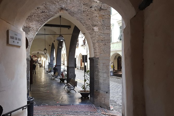 """One of the most historical and cultural hotspots in the Region for centuries. A place of peace and meditation with its cloistered courtyard. It still houses unique artworks and showcases rare religious Ligurian architecture, polyptichs from the mid 15th century, and lots more ….<br><br>In the hub of the authentic medieval village see the """"Pantan"""", with its ancient families' coats of arms and fortified portals, we'll visit the old, characteristic """"Botteghe"""" that still sell the hand-made products of the Argentina Valley. Canestrelli, borage grissini and other sweet or savoury bakery specialties, made with the local extra-virgin olive oil, are an unexpected surprise.<br><br>During the guided tour you will also taste """"Taggiasca"""" olives and the extra virgin olive oil produced in the Argentina Valley.<br><br>Meeting point: in front of the main entrance of the Sanremo Casino."""