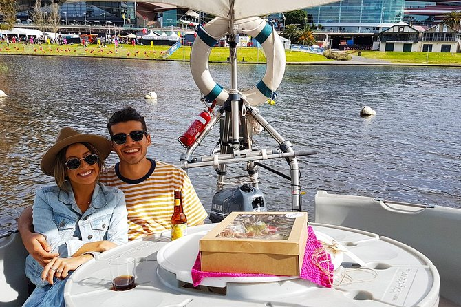 Imagine it's a sunny day and you and your loved one are having wonderful time on a donut-shaped self drive boat. You skipper along the picturesque Riverbank of the Torrens while enjoying our amazing cheese and meat grazers combined with a local glass of wine! Lazin' and Grazin'