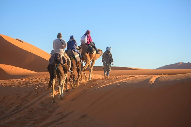 On this 3-day excursion into the Sahara offers plenty of opportunities to experience the local life and great scenery. Drive through Cedars forests, the middle of the Atlas Mountains, see Berber villages and an oasis. The trip includes a camel ride to see the sunset and sunrise in the desert. Discover the Todra Gorge , Dades Valley, Historical kasbahs, and the Atlas Mountain.