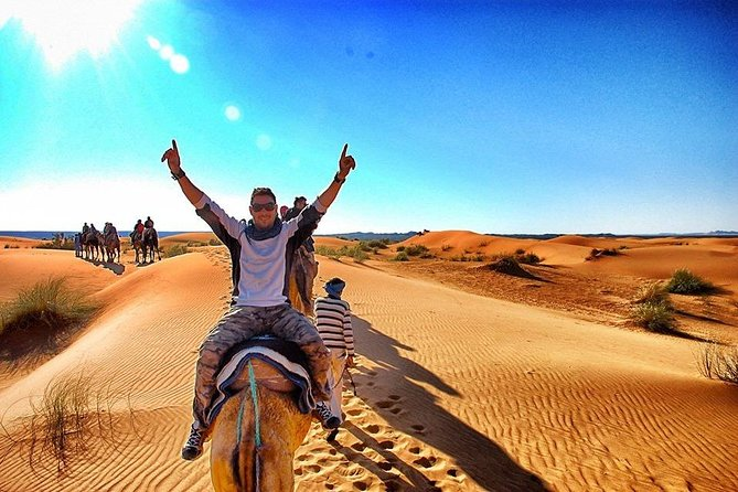 An incredible journey from Fes to Marrakech via Merzouga Desert<br>In this 3 days tour you will go from Fes to Merzouga via Ifrane Midelt and Atlas mountains; after from Merzouga to Dades via Todgha gorges and Tinghir and, in the last day, from Dades to Marrakech via Ouarzazate Ait benhaddou Kasbah and hight Atlas Mountains.<br>
