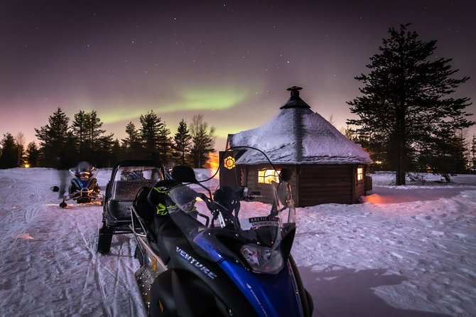 This Norhern Light Hunting Tour tour by snowmobile will take you deeper into the wonderful winter landscape of the Arctic circle in order to chase the Auroras! In the middle of the wilderness, we will have a break to look on the sky. You will be surrounded by forests and lakes that are rising like mysterious shadows towards the night sky and drive the snowmobile through the snow-covered landscapes. The guide will prepare an open fire for you to warm up, and you can enjoy warm refreshments, grill sausages and wait for the Northern Lights to show up and dance for us in the night sky!