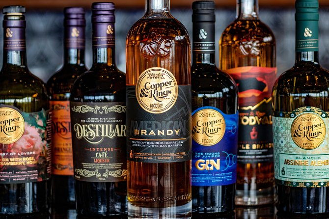 Copper & Kings is an American Brandy, Gin & Absinthe distillery located in Louisville, Kentucky. Come see why we're consistently rated one of Louisville's Best Distilleries! <br><br>To keep our guests and staff safe during the COVID-19 pandemic, we require all guests touring the facility and/or visiting the gift shop to wear a mask and please practice safe hygiene and social distancing. We are taking extra steps to keep everyone safe, and we ask that you kindly assist us in this effort during your visit. Please no touching of the production equipment, the barrels or the stills while on the tour. Thank you!<br><br>The Distillery Tour will take you through our modern, eco-friendly facility which includes a beautiful outdoor Courtyard, our Production floor and the Maturation Cellar where our barrels truly rock & roll! <br><br>The Tasting includes three samples from our extensive line of innovative spirits. Tastings will be held in a safe and sanitary space with tables set set at least 6ft apart.