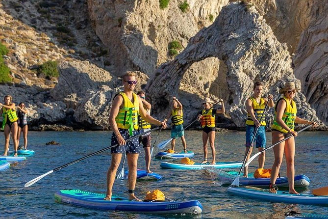 A fun filled Stand Up Paddle Adventure for everyone, no previous experience required. Discover secret spots only accessible by sea and have time to relax and swim or snorkel in crystal clear water.<br>