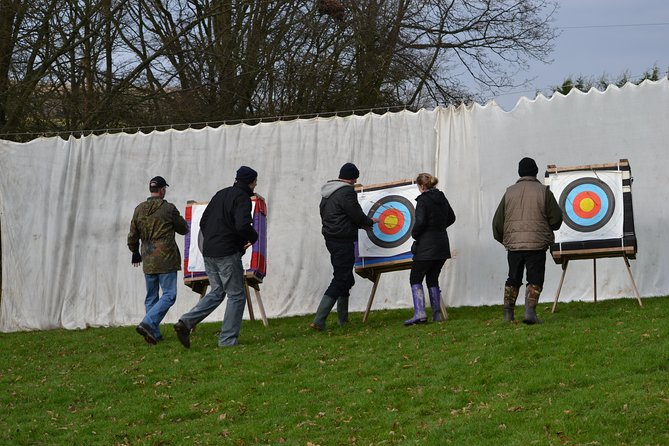 Located in the centre of our grounds, our archery range can accommodate 15 plus targets from standard target faces all the way through to dartboard faces. We also have a few 3-D targets available to aim at. Seeing our foam Meerkat take an arrow to the face and then get back up ready for another one is a delight to see!<br><br>About The Sessions<br>The sessions start with a safety brief from a GNAS or Archery GB qualified instructor and then we let the arrows fly. Sessions normally start from 10 metres back. However, as the session progresses so does the distance, reaching up to 30 metres.<br><br>We have plenty of options for different games to play. Alternatively, you can just focus on the Gold in preparation for the competition at the end of the session. We have standard re-curve bows for the adults and for kids smaller traditional bows. You get to shoot as many arrows as you can in the allotted time. With a large selection of bows, your group can all shoot at the same time.