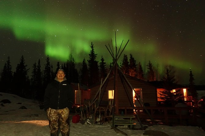At the B.Dene Camp:<br>You'll take the sleigh pulled by the snowmobile to cross the edge of The Great Slave Lake to arrive at the B.Dene camp.<br>You'll experience a cultured night with their freshly made Bannock and roasted whitefish.<br>You'll stay in a warm and comfy camp, we'll inspect the Aurora for you.<br>You'll join the drum play, following the different songs passed down for a long time.<br>We'll take pictures for you, no matter how many you take, it's all for free!<br><br>Before we leave, the drum playing with meaningful songs singed by the first-nation makes this tour a spiritual experience!