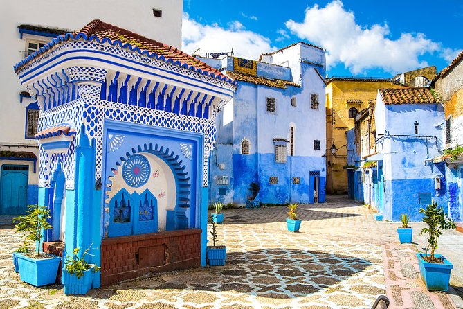 The city of Chefchaouen is a not-to-be-missed element of any tour of northern Morocco. Explore the 'blue pearl' of the Rif Mountains on a full-day tour from Tangier to Chaouen, and discover the exotic lanes of this astonishing city. Take a walk through the compact medina, whose streets are painted in distinctive palette of blue and white,and see the blooming market where unique Riffian handicrafts are being sold. Experience the atmosphere of the 18th-century kasbah and take your time in the bustling cafés of the main square. Walk through the city's well-preserved mellah, previously the home of a Jewish community.<br><br>*<br>Main measures to comply with requirements for the prevention and control against COVID19<br>•Sanitizing hand rub available in all our vehicles<br>•Protective face masks will be distributed to each passenger. Obligatory use it during the trip<br>•Surfaces of the vehicule will be wiped with disinfectant after each use<br>•Driver and/or guide will wear masks and gloves during the journey