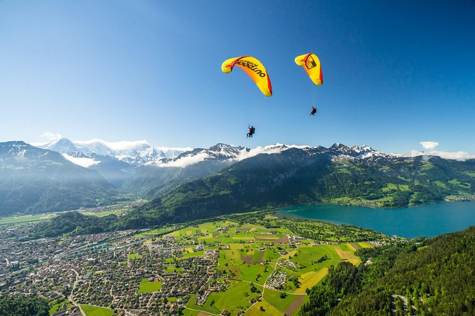 Fly high on rising thermals and enjoy bird's-eye views over the Swiss Alps on this 1.5-hour paragliding experience from Interlaken. Travel out of the city to Beatenberg in the foothills of the Swiss Alps. Following a full safety briefing, strap into your glider in tandem with your guide and soar though the skies. Take in panoramic views over Lake Thun and the snow-capped peaks of the Eiger, Mönch and Jungfrau mountains. Enjoy personal attention from your guide on this small-group tour, limited to 10 people.