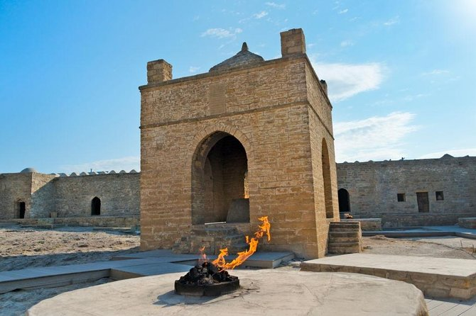 "The unique Ateshgah Fire Temple - (10am-6pm) is one of Azerbaijan's most remarkable sight. According to historical sources, before the construction of the Indian Temple Of Fire in Surakhani at the end of the 17th, the local people also worshiped at this site because of the ""seven holes with burning flame"".<br><br>Afterward, we will keep going to the mysterious Yanar Dag ( Burning Mountain). It is a natural gas fire which blazes continuously on a hillside on the Absheron Peninsula on the Caspian Sea near Baku. Yanar Dag is one of the most popular tourist places of Azerbaijan. The historical name of the country which is the land of fire comes from these holy centers of Baku."
