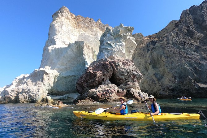 Discover the natural wonder that is Santorini's caves, which turn blue when the lights hits the water.<br><br>Red Beach is one of the best on the island. From here, you can explore the sights of the island, located in the south coast where your sea kayak activity will begin. Paddle along the coastline of Akrotiri, admiring many little caves and formations.<br><br>You will reach Black Mountain. Explore sea caves along the way and enjoy snorkeling. Return to your starting point with a dose of adrenaline from cliff jumping at White Beach.