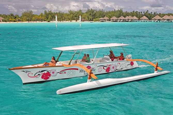 This full day (6 hrs.), semi-private tour around the stunning, colorful lagoon of Bora Bora is a shared excursion with a maximum of 5 other couples on one of our Polynesian outrigger canoe.<br>During this amazing 20-miles tour around the lagoon of Bora Bora, you will have the opportunity to snorkel and swim at all the best places the island has to offer.<br>Swim and snorkel in the pristine, warm water as you search for sharks, stingrays, many colorful fish, and 13 shades of blue!<br>Our approach Is 100% focused towards the respect of marine life and ensures you a magical experience while preserving the aquatic fauna and flora (no feeding of the sharks, rays and the protection of coral)<br><br>Despite the fact that the marine life is widely represented, it is not guaranteed to spot an animal presence when going out. If this is the case, the excursion will not be reimbursed.<br><br>Rate per person, Lunch Included.