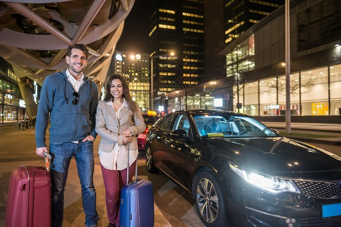 PRICE SHOWN IS PER VEHICLE (Up to 4 PASSENGERS INCLUDED). Choose number of passengers to see prices for larger vehicles. <br><br>Book your private arrival transfer from Vienna Airport (VIE) to any Hotel or Address in Vienna City today!<br><br>Our driver will meet&greet you at the airport with a sign with the lead passenger name and take you to your car. We will then transfer you directly to your destination in Vienna City.<br><br>What is included (final rates with no surprises):<br>- NO HIDDEN CHARGES<br>- PROFESSIONAL DRIVERS<br>- FREE CANCELLATION UP TO 24 HOURS BEFORE YOUR ARRIVAL<br>- MEET&GREET SERVICE (Our driver will wait you in the arrivals hall with a sign with the lead passenger name)<br>- TOLLS INCLUDED<br><br>Benefit from our best offers today and book your arrival transfer from Vienna Airport to Vienna City.