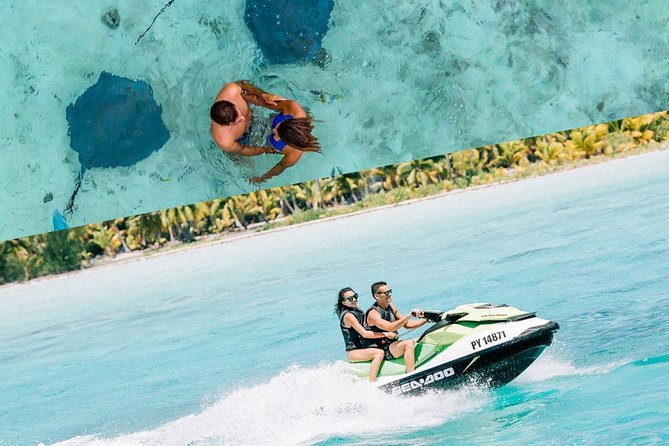Make the most of your time on Bora Bora by combining a Jet Ski tour with a shark and stingray boat safari for a full day of the island's most popular attractions. You'll get breathtaking views of the Polynesian paradise as you zoom around on your Jet Ski with an experienced guide. Then refuel with lunch at the iconic Bloody Mary's restaurant* before cruising around by boat search for sharks, stingrays and tropical fishes. <br>Our approach Is 100% focused towards the respect of marine life and ensures you a magical experience while preserving the aquatic fauna and flora (no feeding of the sharks, rays and the protection of coral)<br><br>*Tour with Lunch included EXCEPT during the annual closing period of the Bloody Mary's Restaurant from January 4th 2021 to January 17th 2021 Lunch is NOT Included, - We will drive you to a restaurant near from our base. You pay for the lunch directly at the restaurant.<br><br>FYI: Jet ski driver minimum 16yo, Participant minimum 11yo. 4 jet skis per guide