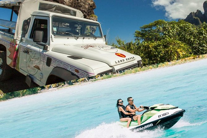 This combo tour of Bora Bora by land and sea is full of fantastic photo ops! Start with a 4WD tour by open-air safari truck that circles the volcanic island, stopping at several lookout points along the way. After lunch at Bloody Mary's*, Select a single or double jet ski and zip around the Polynesian paradise with an experienced guide.<br>* Tour with Lunch included EXCEPT from January 4th 2021 to January 17th 2021.<br><br>FYI: Jet ski driver minimum 16yo, Participant minimum 11yo.