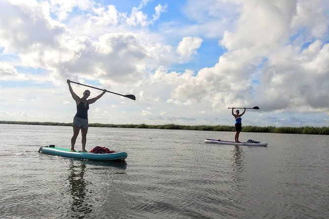 Our beginning point will be at Tybee Island. Depending on the tide we will meet at the Back River or Lazaretto Creek. From there I will set you up with everything you need and teach you how to maneuver the paddleboard. We begin with a short stretch before paddling. Once we set off you may have the opportunity to see a variety of birds, and possibly dolphins. We have small anchors to stabilize the paddleboard during the yoga class. The whole experience is 2 hours. The gear, safety, and stretch in the beginning is about a 30 minute introduction. Then we paddle out for a yoga class lasting between 30minutes to 1hour depending on your preference. Paddling there and back will take between 15-30minutes. Ultimately y'all can decide how much time you would like to paddle and how much time for yoga. If you prefer to paddle mostly that is great and I can just add in some poses for y'all to try when you like. It's a blast being out on the water!