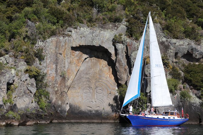 "Experience the beauty of a scenic sailing tour to the Māori Rock Carvings, one of the most extraordinary contemporary carvings in the world. Only view-able from the water, the likeness of Ngātoroirangi towers 14-meters above Lake Taupō, surrounded by over 40 smaller carvings.. <br><br>Escape from hectic life for a while and enjoy the breathtaking views around. <br>Relax on Lake Taupōs largest charter yacht ""Kindred Spirit"" and enjoy the superior comfort with a large deck space and a lounge under deck for up to 12 people.<br>Listen to our experienced skippers and learn about the history of the lake. Give the crew a hand hoisting the sails and take a turn on the wheel or just snuggle under some blankets and enjoy the wide selection of drinks.<br>Kindred Spirit sails under full sails as much as possible or gently meanders, when it is truly calm, by a quite inboard diesel engine.<br><br>Take a dip and swim in the crystal-clear waters of the largest freshwater lake in Australasia (weather dependent)."