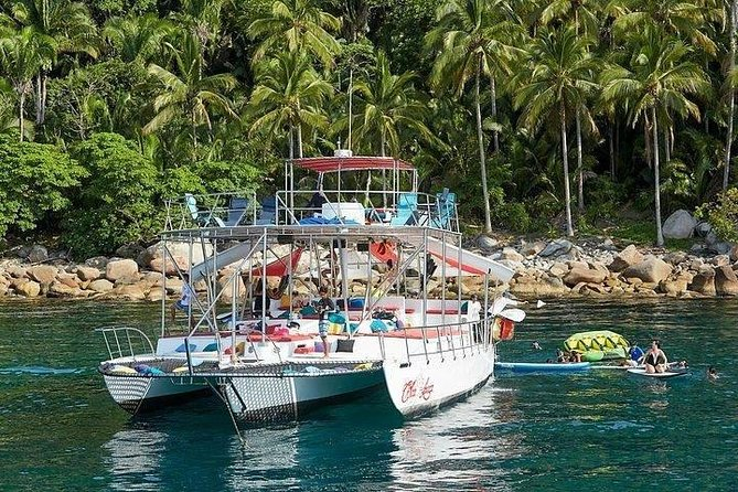 """7 hours in Paradise: Departing from La Cruz Marina at 9am CST, returning at 4pm CST.<br><br>""""If you are looking for an exciting, fun, and adventurous way to spend a great day on the water, our totally customized 65' x 30' SUPER STABLE Trimaran - the ChicaFun WATERSLIDES has it all!"""" - GIL - Some of ChicaFun WATERSLIDES awesome amenities include: • Hammocks • 4 bathrooms • Pure comfort • 2 water slides • Plenty of shade • Great sound system • comfy pillows & cushions • Snorkeling & equipment • Beautiful sun tanning area • Great dance floor with pole • Open Bar – no house brands • Fishing area with fishing gear • Kayak with all the safety gear • 2 fresh water showers to rinse off • Paddle boards & large water tubes • Lounge nets for sun & splashing water • Delicious, Fresh & Seasonal Food – Breakfast, Lunch & Snacks. This Tour is limited to 15 Guests per booking if you'd like to book more than 15, please make another booking."""