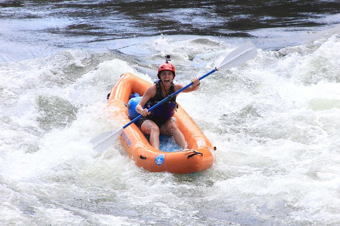 The Salmon River Thrill Seeker is the best way to experience the incredible variety of options on our beautiful River. In the morning paddle yourself in an inflatable kayak through the pristine pools and moderate whitewater of the morning section above Riggins Idaho. If you are lucky the group will paddle past Big Horn Sheep running on the cliffs above the river and see a bald eagle soaring overhead. Our guides will teach you the skills and show you the lines, but paddling through will be all you, and you can certainly do it! Our custom designed kayaks and knowledgable guides will help make sure you have the tools you need to become an inflatable kayaker.<br><br>Mid-day the group paddles into our shop in Riggins where everyone walks up to the lawn to enjoy a nice relaxing BBQ lunch with a view overlooking the river. During lunch the group swaps out gear and prepares to raft as a group through the bigger class III and even class IV rapids of the afternoon section of the Salmon River. This trip includes numerous large rapids like the huge waves of Time Zone, tight squeeze, Traps and black rock.<br><br>The Salmon River thrill seeker is the trip for the group who can't decide on the experience they want so they choose to do it all. Sign up today and come out to experience the best parts of going on the river; taking on new challenges paddling yourself and having the chance to work with your friends and family together in one boat.<br>