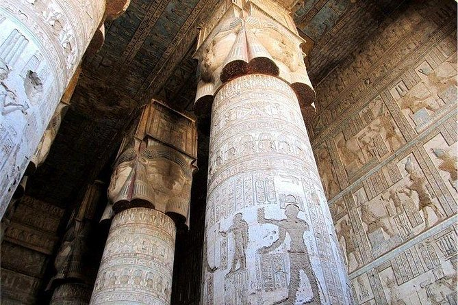 Drive north from Luxor for a day to see two of the most complete temples in Egypt. Abydos Temple is dedicated to the Ancient Egyptian god of the underworld. Temple of Hathor at Dendara may be the best preserved in Egypt with full color still visible on its walls.<br>