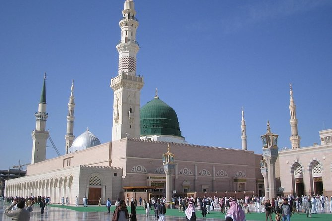Madinah Munawwarah or Medina al-Munawwarah (المدينة المنورة ) is the second most holy city for Muslims because there is Masjid-e- Nabawi where Muhammad's tomb is located. Medina is 210 miles (340 km) north of Mecca and about 120 miles (190 km) from the Red Sea coast. After picking your from your location, our tour will start from Masjid-e-Quba, the first mosque built by Muslims, then Masjid-e-Qiblateen where Muhammad (PBUH) received the command to change the Qiblah. Masjid-e- Juma where Muhammad (PBUH) prayer first Juma. 7-Mosques is a complex of six small historic mosques, Shuhada Uhud and Hazarat Salman Farsi Garden (Dates) are also included in our visits.<br><br>- Private Return Tour<br>- Air-Conditioned Vehicles<br>- Reliable and Affordable Private Visit<br>- All our Drivers are expert Knowledge of Madinah Holy Places <br>- Ride flexibility<br>- Free Wifi / Internet & refreshment / drinks