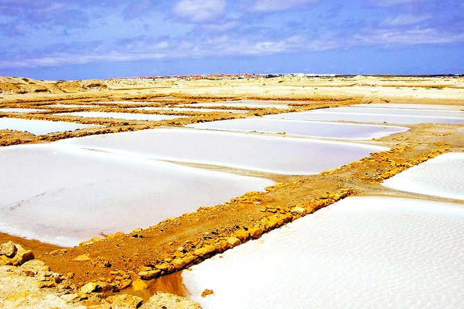 """Get to know the daily life of locals in a half-day tour. Have opportunity to visit the most beautiful beach of Sal Island, the bay of Murdeira where you can enjoy beautiful views from the Lion Mountain, the main Port of the Island, and the natural Swimming pool and the """"Blue Eye"""", one of the seven wonders of the Country."""