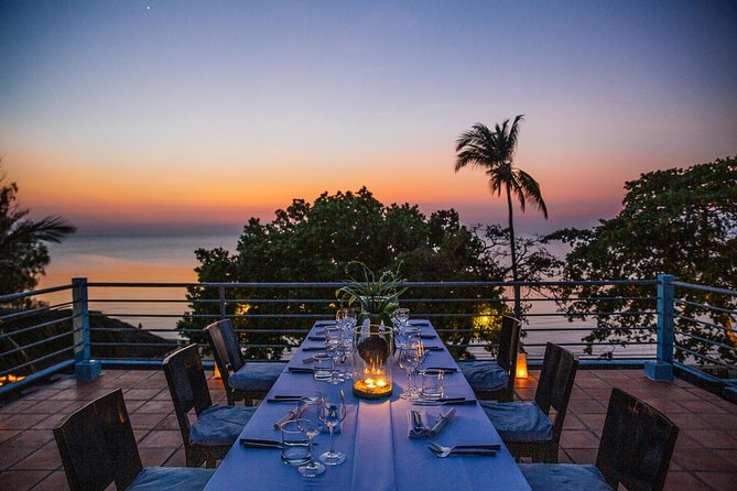 Our private rooftop dinner on top of our unique blue house is a unique Culinary experience. Enjoy a five course wine paired chef's feature menu under the stars overlooking the gulf of Siam.