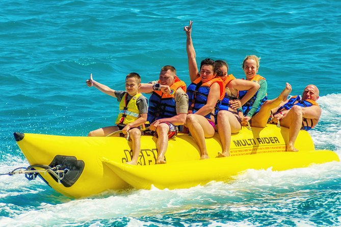 Banana Boat Fun for everyone! Safe and easy to ride on a beautiful sunny day in South Padre Island.