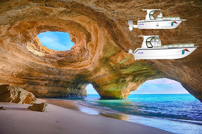 Look inside the spectacular rock formations of the Benagil caves on a 2.5 hour comfortable catamaran cruise along the Algarve coast from Portimão. Stop for a swim at a heavenly beach and look for dolphins along the way.