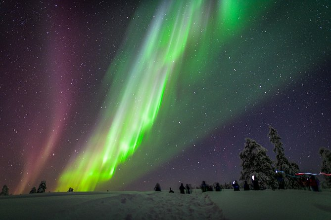 The visibility of Northern lights depends for example on the weather and activity of the Sun, but this trip is to offer you the best chance to see the lights on the best possible location in Ivalo – Saariselka area. We take it seriously <br><br>Our sites are absolute dark far from the village lights and hotels. This is important because most of the lights are relatively faint so in absolute darkness you will see much more.<br><br>The longer you stay the more you see. This is why our tour is relatively long. The best hour to see the lights is just before the midnight but the best lights may appear whenever. On the way to the site we stop the car even several times if needed and follow the lights.<br><br>During this tour we also spend nice time in a tepee on the best possible site for following the sky and barbeque for all tastes and diets.<br><br>We will also advice you in taking pictures and we will make pictures ourselves which we share with you from our cloud service.<br><br>We follow the daily weather forecast
