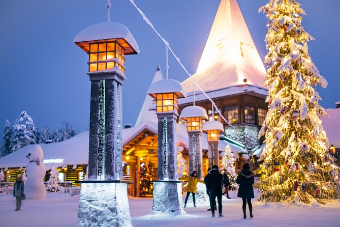 Our Rovaniemi day brings you to the Arctic Circle, where you will obtain the Arctic Circle crossing certificate, meet Santa Claus himself, meet the reindeer herders and enjoy a delicious lunch. Santa Claus village at the Arctic Circle is the best place for shopping as well. Rovaniemi day includes also visit in Arktikum museum – the provincial museum of Lapland and a sight seeing in Rovaniemi downtown. See Rovaniemi in one day!