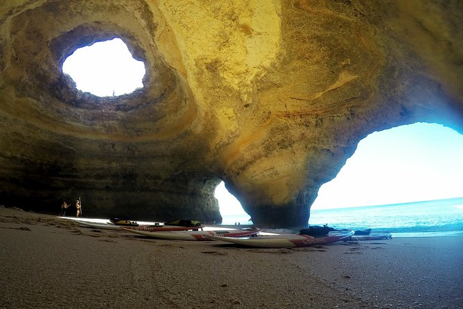 """There are many existing caves in the Algarve coast, but Benagil have the most famous caves in the Algarve, and probably in Portugal. The famous """"Algar de Benagil"""" is a hole created at the top of the rock, is probably the most photographed spot and shared images through out the world. <br><br>The only way to access the Benagil caves is by water, there is no walking access so, do it on a Stand Up Paddle board is one of the best options to visit them, because with the board, you can go inside of the caves, walk and access the beaches that are within their own caves, which otherwise is not possible! <br><br>Join us in this 2 hours adventure, starting at the Benagil Beach and we make sure it will be a unique experience that will remember forever!"""