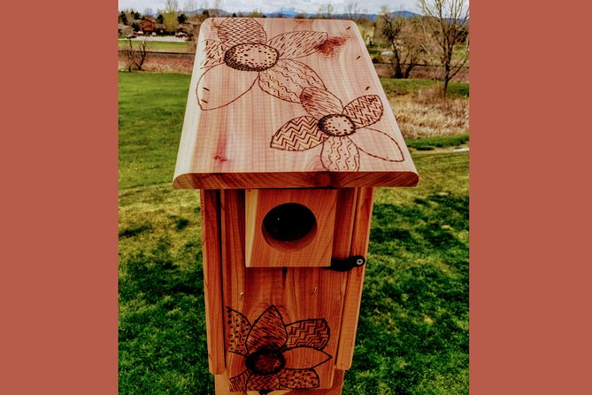 This is a great opportunity to try something new! Pyrography is a form of wood burning that etches permanent, weather proof designs into wood. Participants will learn the basics of zentangle designs and how to easily draw them. Then, participants will be shown how to safely use the wood burnishing tools to add their unique designs to the surface of the Blue Bird Nesting Box.<br><br>Each participant will leave with their finished blue bird box ready to be installed outside.