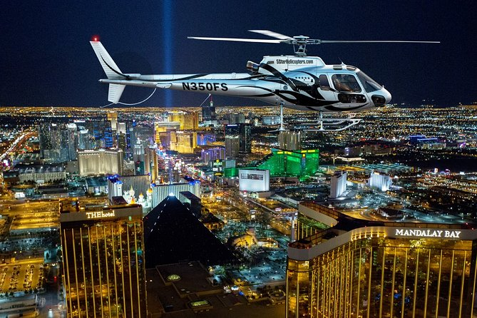 This is the longest flight time available! Celebrate your visit to Las Vegas with an amazing 15-minute helicopter flight over the dazzling neon lights of the famous Las Vegas Strip. Enjoy complimentary hotel pickup and drop-off by Mercedes Sprinter (depending on option selected) and relax with a glass of sparkling wine before boarding your luxurious A-Star helicopter. These one-of-a-kind views of fabulous Las Vegas will be a highlight of your trip to Sin City!