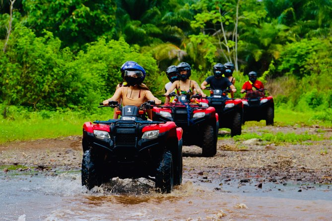We offer an off-road adventure with Top of The Line, Single, Double and or Side by Side ATV's. Our all-terrain vehicles are safe and easy to drive, great for riders of all ages* *(16 years Old – Minimum Driving Age)<br><br>Experience the adrenaline of driving on ATV's as you are led by our Expert & Bilingual Guide to a Private Natural Reserve. There you will take a light hike into the rainforest up to a refreshing natural river pool where you will be welcome to swim in.<br><br>You will also you enjoy Fresh & Local Fruits and a Water Bottle to quench your thirst. After this, we undo our way to head back for a 100% Costa Rican Traditional Meal. We also offer lockers for you to leave items that you won't bring on the tour and Towels for you to dry if you wish to rinse off at the end of the tour.
