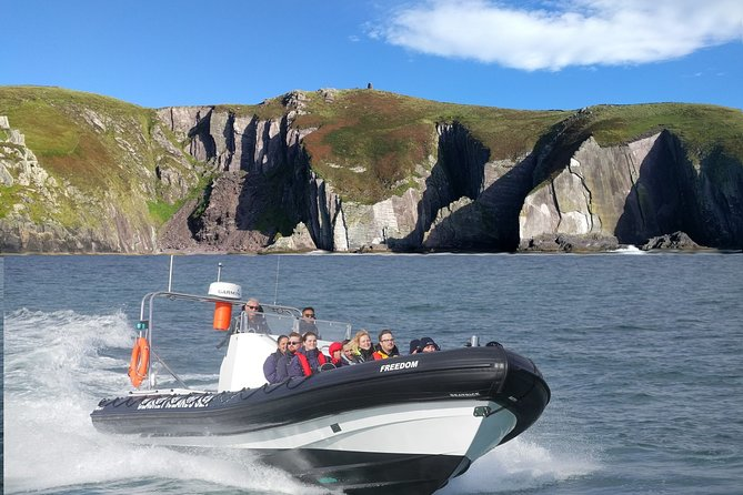 "Take an exciting Rib adventure around the beautiful Blasket islands….<br>The RIB ""M/V Freedom"" is designed for passenger comfort and safety with individual jockey seats for 12 passengers and an onboard toilet.<br><br>So pack your sense of adventure and get ready to have the fresh sea air blowing through your hair. Get that feeling that comes with close encounters with seals and dolphins in the wild as you travel through some of the most beautiful coastal scenery in Ireland."