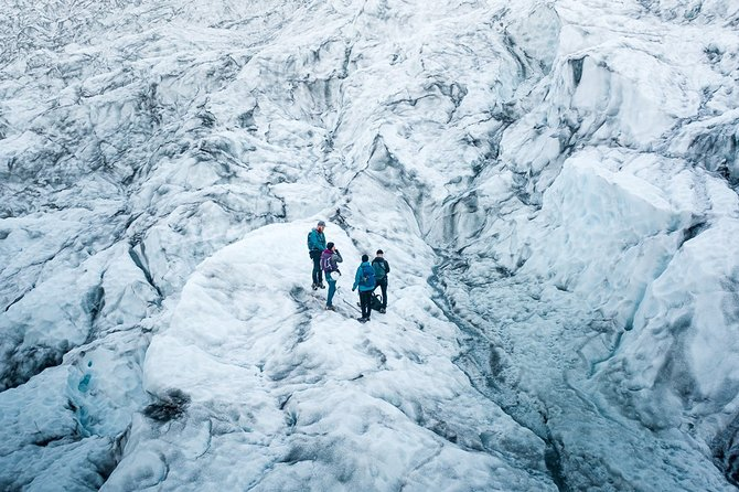 • Certified guides<br><br>Our guides have certification from AIMG (Association of Icelandic Mountain Guides).<br>• Small groups<br><br>The group size for our trips never exceeds 8 people.<br>• 4x4 drive<br><br>We will drive you all the way to the glacier. That means more time we can spend on ice.<br>• Evening departure (June - August)<br><br>If you want to avoid the crowds join us for our evening tour and enjoy the complete silence.<br>