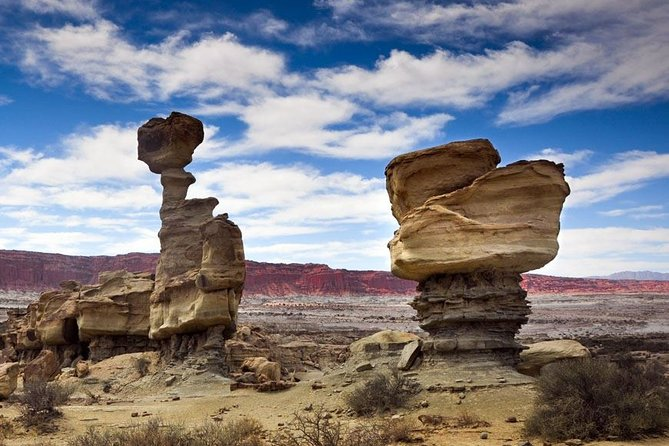 "You cannot miss the visit to the Ischigualasto Park ""Valle De La Luna"", a unique destination and outside the conventional itineraries, which surprises with its formations and unusual soil characteristics. The astonishment for the place and the richness that it contains for the study of the archaeological and paleontological sites of the area caused that UNESCO declared World Heritage Site. Its geoforms of curious forms (The Submarine, The Mushroom, the Bocce Court) and the remains of the oldest dinosaur are some of the attractions of this site, which is also known as ""Valle de la Luna""."