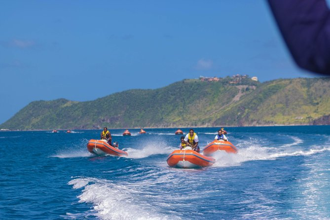 Safe and loads of fun - these self-drive dinghies are an ideal way to explore the beaches and coves of St Kitts Southeast Peninsula. No boating experience is necessary and each boat is designed for double occupancy. Each mini speedboat is a wonderful fun experience for two. If you are a single passenger, your guide will attempt to pair you with another single passenger or if you desire to be alone on the boat, you may be able to ride alone if space allows.