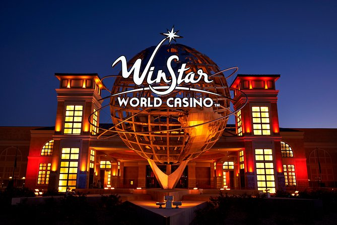 Knock another state off your bucket list with a roundtrip ride through Texas to Oklahoma to the world's biggest casino, Winstar World Casino, North Texas closest casino! Amidst its luxurious decor of historical displays and architecture of Paris, Beijing, Rome, Madrid, London, Vienna, Cairo, and New York City, you'll have access to over 7,400 electronic games and various table games to enjoy at your on leisure!