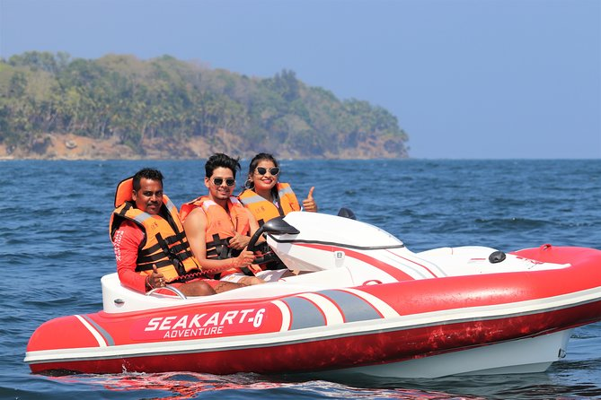 For the first time in India, Seakart Adventure offers the NATION EXCLUSIVE experience of SELF-DRIVING YOUR OWN SEAKART. Share it with a companion, drive it in a group with our fleet of 6 Seakarts and explore the exotic coastline of Port Blair, Andamans in the safest environment with our trained instructors. Giving a premium experience exclusively to Seakart Adventure customers, our staff will pamper you at our Seakart Adventure Lounge at Corbyn's Cove Beach which includes lounging space, classroom, changing rooms, shower cabins and lockers. This is the most unique activity and an experience of a lifetime. Take on the sea!
