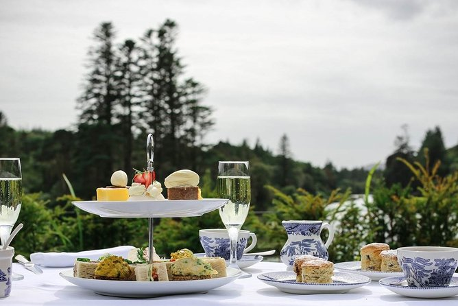Traditional high tea enjoyed at an authentic Irish castle.<br>Finest teas made by a master Galway tea blender.<br>A delicious culinary showcase of Connemara's seasonal products.<br>Signature house tea made from local foraged herbs.<br>Beautiful castle estate of forest and river views.