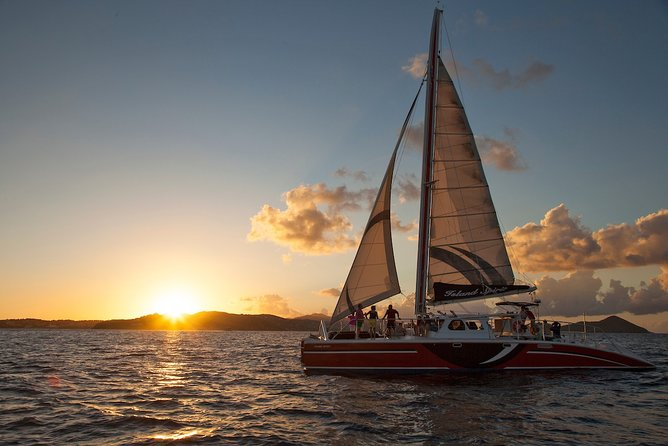 As the sun sets our sails rise, and the champagne flows. Experience a Caribbean sunset and celebrate one of nature's wonders of color under full sail aboard our 55′ catamaran, Daydreamer. Enjoy a relaxing and romantic sail in the calm waters of Pillsbury Sound with views of the beautiful beaches on the north shore of St. John, returning back to Cruz Bay in time for dinner. A champagne sunset sail in the Virgin Islands is the perfect way to start a romantic night on your Caribbean getaway!