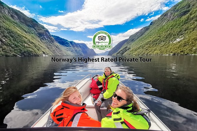 NORWAY'S HIGHEST RATED PRIVATE TOUR #1 ON TripAdvisor <br><br>Never in the history of private tours in Norway, there's been so many travelers top rating a tour in such a short time! It is described as the most unique FjordSafari available in Norway, and rest assured that you will be baffled by what our Top-rated tour supplier has created. <br><br>Stunning unexplored surroundings where you are completely undisturbed by the herd of travelers seeking to well-known places like Flåm. Here you are completely off the beaten track, not having the feeling of being just another one herded around. <br><br>IMPORTANT: Please, note that this tour is select access and the local supplier must manually confirm your booking before you are set to go. This tour has a very limited capacity and travelers are encouraged to book early. Last-minute bookings are accepted only when and if there is capacity available.<br><br>