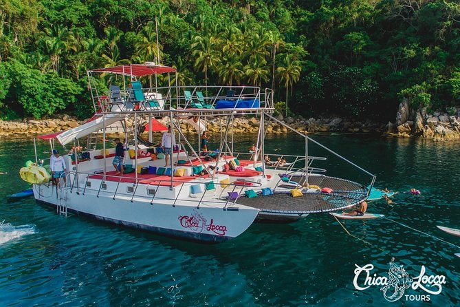 """This tour took up to 30 Guest not 15<br>7 hours in Paradise: Departing from any open port at the time you choose<br><br>""""If you are looking for an exciting, fun, and adventurous way to spend a great day on the water, our totally customized 65' x 30' SUPER STABLE Trimaran - the ChicaFun WATERSLIDES has it all!"""" - GIL - Some of ChicaFun WATERSLIDES awesome amenities include: • Hammocks • 4 bathrooms • Pure comfort • 2 water slides • Plenty of shade • Great sound system • comfy pillows & cushions • Snorkeling & equipment • Beautiful sun tanning area • Great dance floor with pole • Open Bar – no house brands • Fishing area with fishing gear • Kayak with all the safety gear • 2 fresh water showers to rinse off • Paddle boards & large water tubes • Lounge nets for sun & splashing water • Delicious, Fresh & Seasonal Food – Breakfast, Lunch & Snacks. This Tour is limited to 15 Guests per booking if you'd like to book more than 15, please make another booking."""