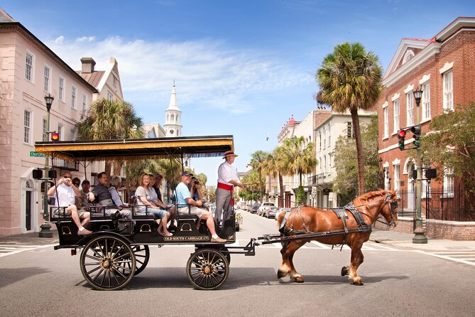 Travel by horse-drawn carriage along the picturesque streets of Charleston and take in the history of this South Carolina city. See highlights such as historically significant homes, churches and gardens while listening to informative commentary about the city's role in our nation's history from your certified guide. Enjoy the relaxed pace of a carriage tour as you soak up the southern charm of Charleston.  Please check in with Old South Carriage 15-minutes prior to tour.