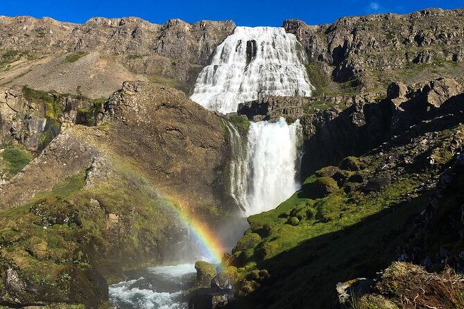 Experience the stunning Dynjandi waterfall and picturesque landscape of the Westfjords on a private tour from Isafjordur. Dynjandi waterfall is the biggest waterfall in the Westfjords and the most beautiful waterfall in Iceland. In 1980 Dynjandi waterfall and its surroundings were declared a natural monument and now it is one of the most photographed sights in all of Iceland.